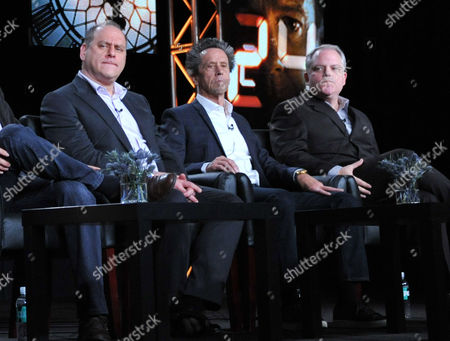 """From left, executive producers Evan Katz, Brian Grazer and Manny Coto are seen during the panel for """"24: Live Another Day"""" at the FOX Winter 2014 TCA,, at the Langham Hotel in Pasadena, Calif"""
