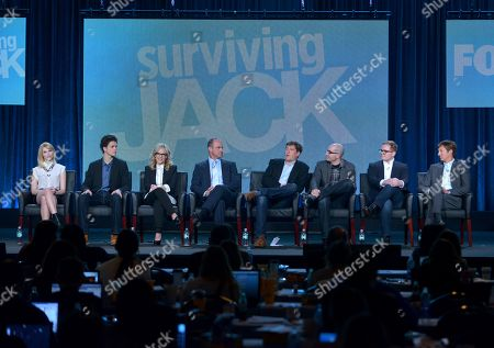 "From left, Claudia Lee, Conner Buckley, Rachel Harris, Christopher Meloni, executive producers Bill Lawrence, Justin Halpern, Patrick Schumacker, and Jeff Ingold are seen at the panel for ""Surviving Jack"" at the FOX Winter 2014 TCA,, at the Langham Hotel in Pasadena, Calif"