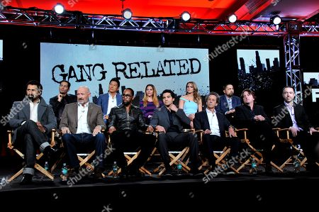 """Stock Photo of From upper left, Jay Hernandez, Sung Kang, Inbar Lavi, Shantel Vansanten, Rey Gallegos, Cliff Curtis, Terry O'Quinn, Rza, Ramon Rodriguez, executive producers Brian Grazer, Scott Rosenbaum and Chris Morgan are seen during the panel for """"Gang Related"""" at the FOX Winter 2014 TCA,, at the Langham Hotel in Pasadena, Calif"""