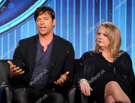 "From left, judges Harry Connick, Jr. and executive producer Trish Kinane participate in FOX's ""American Idol XIII"" panel at the FOX Winter TCA Press Tour, on at the Langham Huntington, in Pasadena, Calif"
