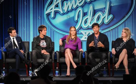"From left, host Ryan Seacrest, judges Keith Urban, Jennifer Lopez and Harry Connick, Jr. and executive producer Trish Kinane participate in FOX's ""American Idol XIII"" panel at the FOX Winter TCA Press Tour, on at the Langham Huntington, in Pasadena, Calif"