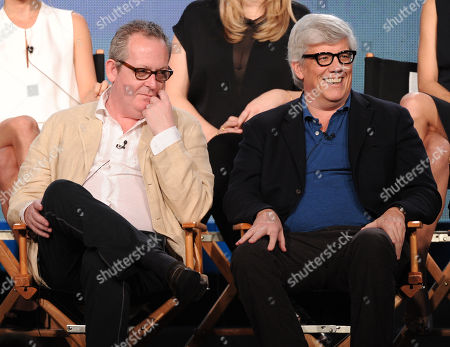"""From left, creator/executive producer Peter Duncan and executive producer/writer Peter Tolan participate in FOX's """"Rake"""" panel at the FOX Winter TCA Press Tour, on at the Langham Huntington, in Pasadena, Calif"""