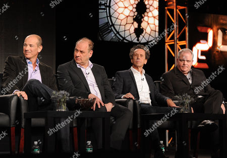 """From left, executive producers Howard Gordon, Evan Katz, Brian Grazer and Manny Coto participate in FOX's """"24 Live Another Day"""" panel at the FOX Winter TCA Press Tour, on at the Langham Huntington, in Pasadena, Calif"""