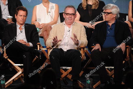 """From left, co-executive producer/cast member Greg Kinnear, creator/executive producer Peter Duncan and executive producer/writer Peter Tolan participate in FOX's """"Rake"""" panel at the FOX Winter TCA Press Tour, on at the Langham Huntington, in Pasadena, Calif"""