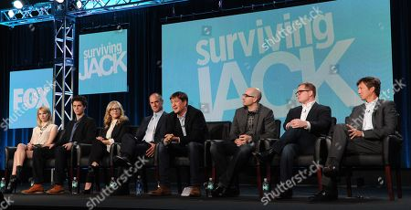 "From left, cast members Claudia Lee, Connor Buckley, Rachael Harris, Christopher Meloni, executive producer Bill Lawrence, co-creators/executive producers Justin Halpern and Patrick Schumacker and executive producer Jeff Ingold participate in FOX's ""Surviving Jack"" panel at the FOX Winter TCA Press Tour, on at the Langham Huntington, in Pasadena, Calif"