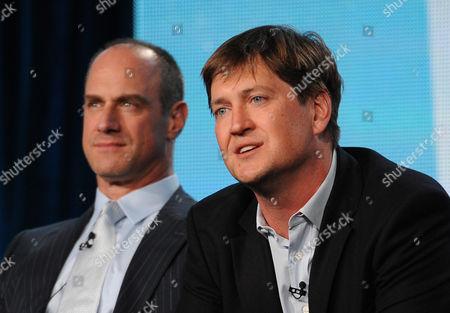 "From left, cast member Christopher Meloni and executive producer Bill Lawrence participate in FOX's ""Surviving Jack"" panel at the FOX Winter TCA Press Tour, on at the Langham Huntington, in Pasadena, Calif"