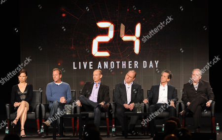 """From left, cast member Mary Lynn Rajskub, executive producer/cast member Kiefer Sutherland, and executive producers Howard Gordon, Evan Katz, Brian Grazer and Manny Coto participate in FOX's """"24 Live Another Day"""" panel at the FOX Winter TCA Press Tour, on at the Langham Huntington, in Pasadena, Calif"""