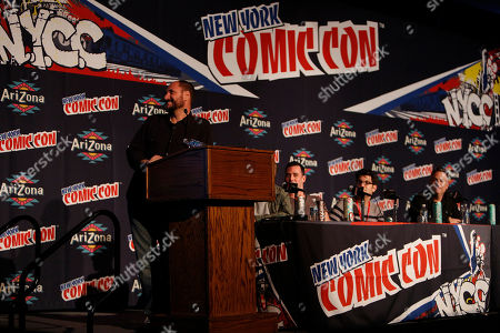 """From left, Loren Bouchard, John Roberts, Dan Mintz, and Larry Murphy participate in FOX's """"Bob's Burgers"""" panel during New York Comic Con, on at Javits Convention Center, in New York City, NY"""