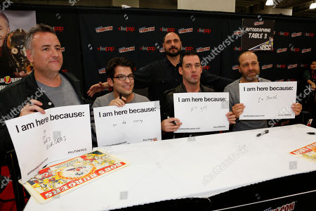 "Larry Murphy, Dan Mintz, Loren Bouchard, John Roberts, and H. Jon Benjamin participate in FOX's ""Bob's Burgers"" panel during New York Comic Con, on at Javits Convention Center, in New York City, NY"