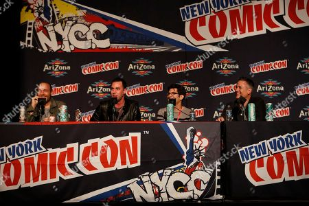 """From left, H. Jon Benjamin, John Roberts, Dan Mintz, and Larry Murphy participate in FOX's """"Bob's Burgers"""" panel during New York Comic Con, on at Javits Convention Center, in New York City, NY"""
