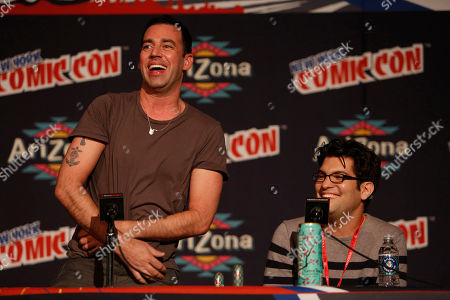 """From left, John Roberts and Dan Mintz participate in FOX's """"Bob's Burgers"""" panel during New York Comic Con, on at Javits Convention Center, in New York City, NY"""