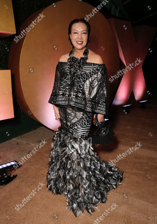 Sue Wong is seen at FOX's 72nd annual Golden Globe Awards Party at the Beverly Hilton Hotel, in Beverly Hills, Calif