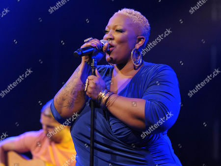 Frenchie Davis performs at the Friend Movement Anti-Bullying Benefit Concert at the El Rey Theatre on in Los Angeles