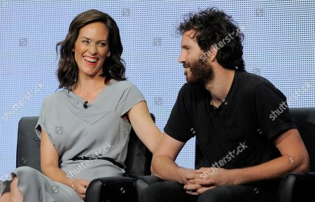 """Annabeth Gish, left, and Thomas M. Wright, cast members in the FX series """"The Bridge,"""" interact during a panel discussion on the show at the FX 2013 Summer TCA press tour at the Beverly Hilton Hotel on in Beverly Hills, Calif"""