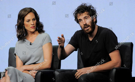 """Thomas M. Wright, a cast member in the FX series """"The Bridge,"""" addresses reporters as fellow cast member Annabeth Gish, left, looks on during the FX 2013 Summer TCA press tour at the Beverly Hilton Hotel on in Beverly Hills, Calif"""
