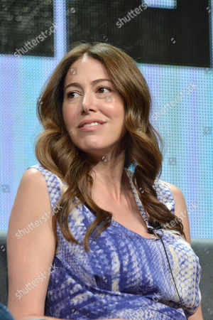Co-creator Jackie Marcus Schaffer on stage during the The League panel at the The FX 2014 Summer TCA held at the Beverly Hilton Hotel, in Beverly Hills, Calif