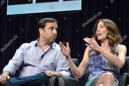 Co-creators Jeff Schaffer and Jackie Marcus Schaffer on stage during the The League panel at the The FX 2014 Summer TCA held at the Beverly Hilton Hotel, in Beverly Hills, Calif