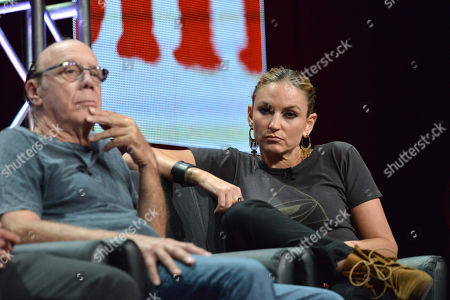Dayton Callie and Drea de Matteo on stage during the Sons of Anarchy panel at the The FX 2014 Summer TCA held at the Beverly Hilton Hotel, in Beverly Hills, Calif