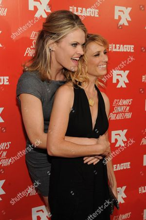 From left, Missi Pyle and Shawnee Smith arrive at the launch party for the new FXX Network, on at Lure in Hollywood, Calif