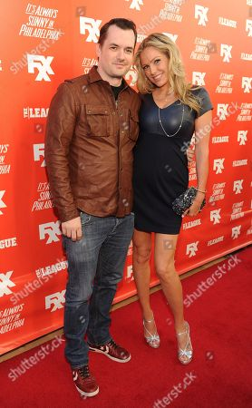 Jim Jefferies, left, and Kate Luyben arrive at the launch party for the new FXX Network, on at Lure in Hollywood, Calif