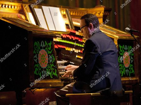 Organist Ken Double played the 'Mighty Mo' pipe organ prior to Garrison Keillor's live radio show A Prairie Home Companion at The Fox Theatre on in Atlanta, Ga