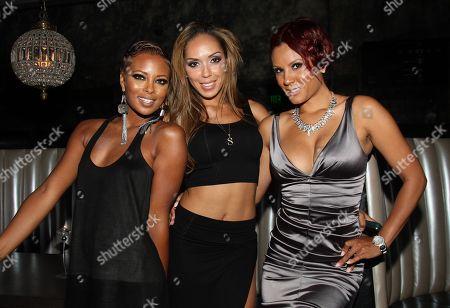 Cast members (L-R) Eva Marcille, Stephanie Mosley and Nikki Chu attend Girlfriend Confidential LA Premiere Episode Party at Xen Lounge, in Studio City, California