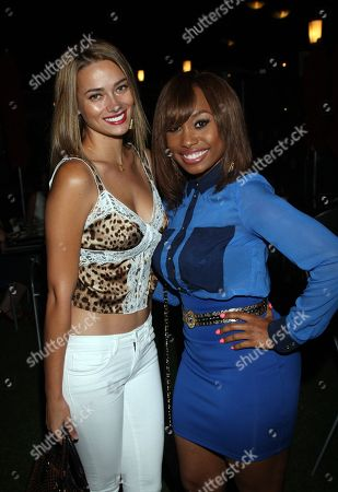 Model Alicia Hall and actress Angell Conwell attend Girlfriend Confidential LA Premiere Episode Party at Xen Lounge, in Studio City, California