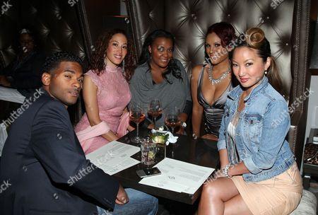 Nikki Chu, Kelly Marie Dunn (L) and friends (R) attend Girlfriend Confidential LA Premiere Episode Party at Xen Lounge, in Studio City, California