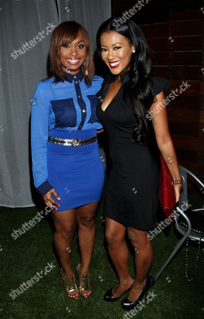 Angell Conwell and Denyce Lawton attend Girlfriend Confidential LA Premiere Episode Party at Xen Lounge, in Studio City, California