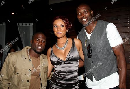 Stock Picture of L-R) Kevin Hart, Nikki Chu and Terrell Owens pose at Girlfriend Confidential LA Premiere Episode Party at Xen Lounge, in Studio City, California