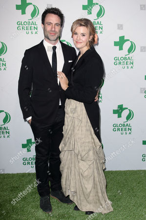 Stock Picture of Matthew Cooke, left, and Maggie Grace arrive at the Global Green USA's 12th Annual Pre-Oscar Party at the Avalon Hollywood, in Los Angeles