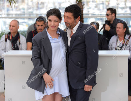 Heloise Godet and Kamel Abdelli during a photo call for Goodbye to Language (Adieu au language) at the 67th international film festival, Cannes, southern France