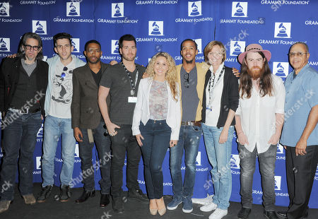 "Scott Goldman, from left, Ryan Rabin, Brian London, Steven Slate, Haley Reinhart, Kristen Madsen, Sean Gadd, and David Sears attend the ""GRAMMY Camp Guest Professional Day"", in Los Angeles"