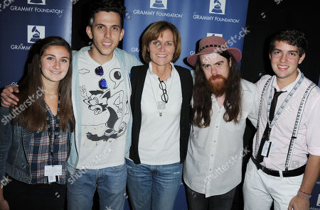"Devon Lawrence, from left, Ryan Rabin, Kristen Madsen, Sean Gadd, and Evan Rees attend the ""GRAMMY Camp Guest Professional Day"", in Los Angeles"