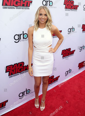 "Jenn McAllister attends GRB Entertainment's ""Bad Night"" premiere, in Los Angeles"