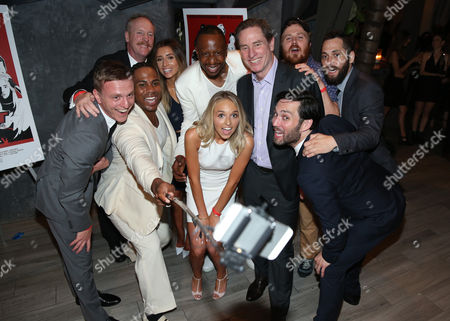 Daniel Kinno, Matt Walsh, Jayson Paul, Lauren Elizabeth Luthringshausen, Owen Smith, Gary R. Benz, Jenn McAllister, Gareth Reynolds, Nick Riedell and Chris Riedell take a selfie at GRB Entertainment's 'Bad Night' premiere, in Los Angeles