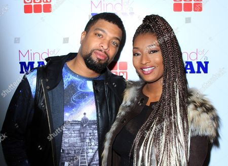 "Game show host DeRay Davis and Toccara Jones seen at GSN ""Mind of a Man"" Premiere Launch Party, on in West Hollywood. California"