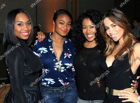 """Actors Angell Conwell, Tatyana Ali, Denyce Lawton and Zuley Henao seen at GSN """"Mind of a Man"""" Premiere Launch Party, on in West Hollywood. California"""
