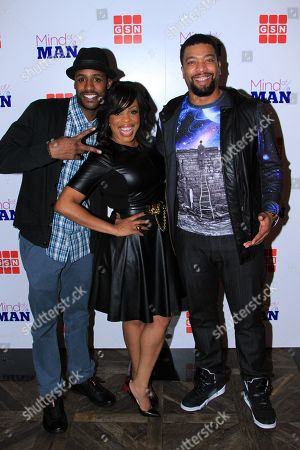 """Actors Jackie Long, Niecy Nash and host DeRay Davis seen at GSN """"Mind of a Man"""" Premiere Launch Party, on in West Hollywood. California"""