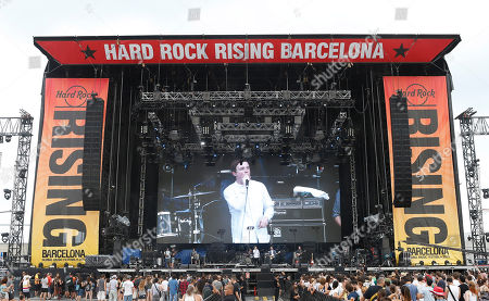 Jack Mercer vocalist of The Carnabys performs on stage at the Hard Rock Rising Barcelona global music festival, at Platja del Forum in Barcelona, Spain. Hard Rock Rising Barcelona is Hard Rock's first global music festival activation in Spain