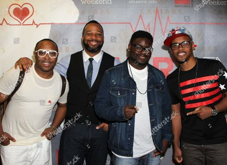 L-R) DI Envy, comedians Joe Clair, Lil Rel and Lavar Walker arrive at HartBeat Weekend Comedy All-Stars Show Hosted by Kevin Hart on at Circus Maximus Theatre at Ceasars Hotel & Casino in Atlantic City, New Jersey