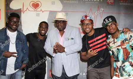 """L-R) Lil Rel, Kevin Hart, Cedric """"The Entertainer"""", Lavar Walker and Ne-Yo arrive at HartBeat Weekend Comedy All-Stars Show Hosted by Kevin Hart on at Circus Maximus Theatre at Ceasars Hotel & Casino in Atlantic City, New Jersey"""