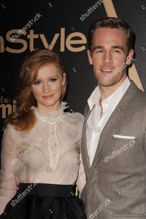 James Van Der Beek, at right, and Heather McComb attends HFPA and InStyle's Golden Globe award season celebration at Cecconi's, in West Hollywood