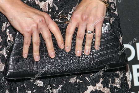 Actress A. J. Cook (clutch detail) arrives at the Hollywood Foreign Press Association's celebration of the 2014 Golden Globe Award Season at the Fig & Olive on in West Hollywood, Calif