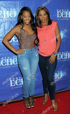 """Malaysia Pargo and Holly Robinson Peete seen at Holly Robinson Peete's Screening of Relativity's """"Earth To Echo"""" Benefiting the HollyRod Foundation at Pacific Theatres at the Grove, in Los Angeles, California"""