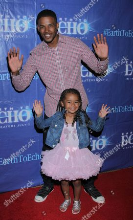 """Gregg Wayans and daughter seen at Holly Robinson Peete's Screening of Relativity's """"Earth To Echo"""" Benefiting the HollyRod Foundation at Pacific Theatres at the Grove, in Los Angeles, California"""