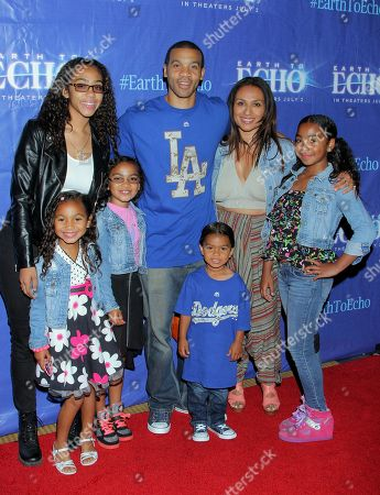 "Aaron D. Spears, wife Estella Spears and family seen at Holly Robinson Peete's Screening of Relativity's ""Earth To Echo"" Benefiting the HollyRod Foundation at Pacific Theatres at the Grove, in Los Angeles, California"