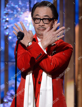 Stock Image of George Cheung speaks on stage at the Huading Film Awards at the Ricardo Montalban Theater, in Hollywood, Calif