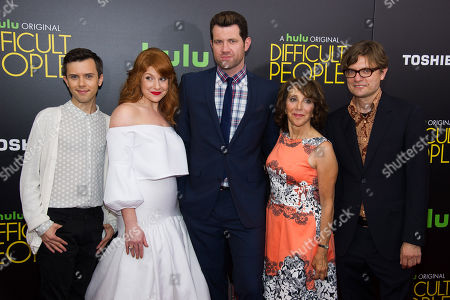 """Cole Escola, left, Julie Klausner, Billy Eichner, Andrea Martin and James Urbaniak attend the Hulu Original """"Difficult People"""" premiere at the SVA Theater, in New York"""