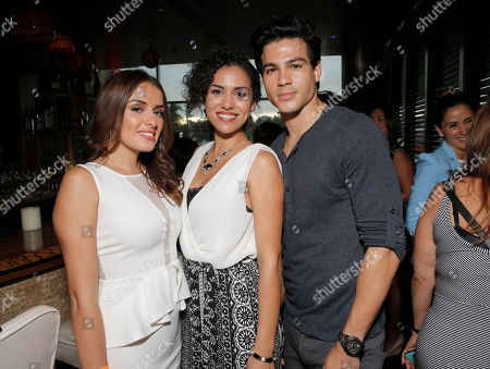 Vannessa Vasquez, Andrea Sixtos and Ray Diaz attend the after party for Hulu's East Lost High Season 2 Premiere at Landmark Theater on Wednesday July, 9 2014, in Los Angeles